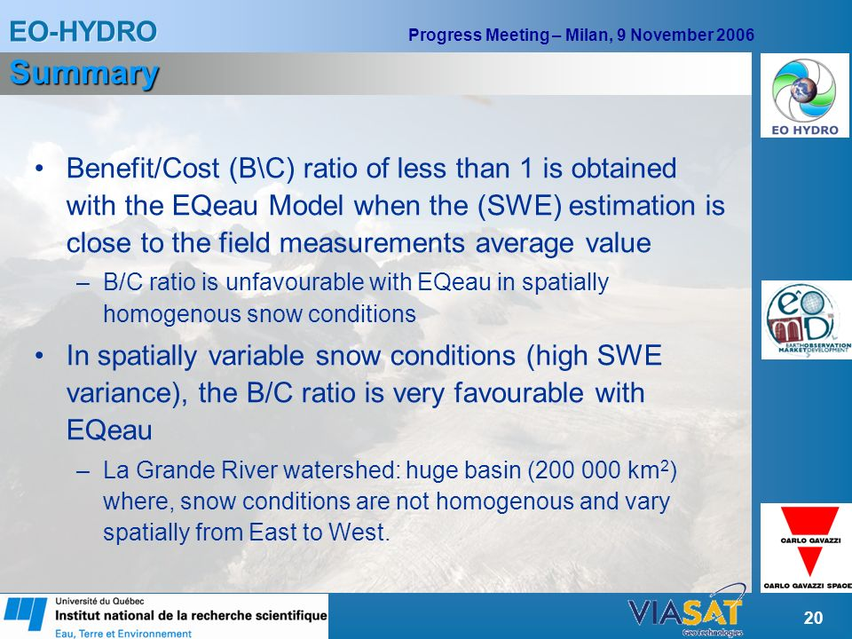 EO-HYDRO Progress Meeting – Milan, 9 November 2006 20 Summary Benefit/Cost (B\C) ratio of less than 1 is obtained with the EQeau Model when the (SWE) estimation is close to the field measurements average value –B/C ratio is unfavourable with EQeau in spatially homogenous snow conditions In spatially variable snow conditions (high SWE variance), the B/C ratio is very favourable with EQeau –La Grande River watershed: huge basin (200 000 km 2 ) where, snow conditions are not homogenous and vary spatially from East to West.