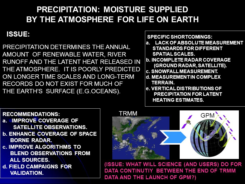 PRECIPITATION: MOISTURE SUPPLIED BY THE ATMOSPHERE FOR LIFE ON EARTH TRMM GPM ISSUE: PRECIPITATION DETERMINES THE ANNUAL AMOUNT OF RENEWABLE WATER, RIVER RUNOFF AND THE LATENT HEAT RELEASED IN THE ATMOSPHERE.