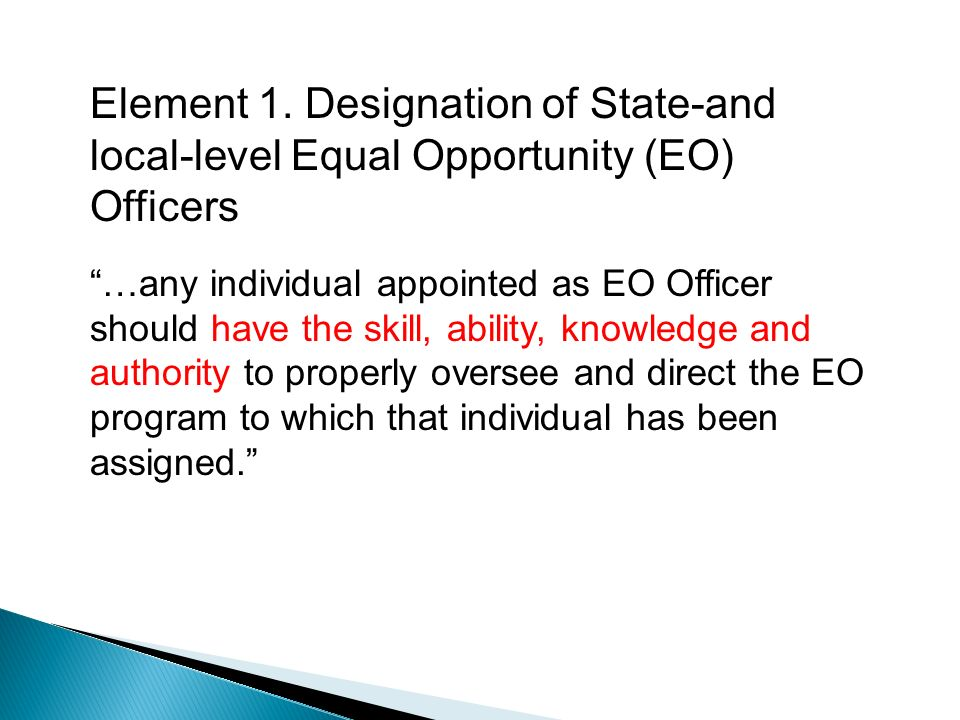 Element 1. Designation of State-and local-level Equal Opportunity (EO) Officers …any individual appointed as EO Officer should have the skill, ability