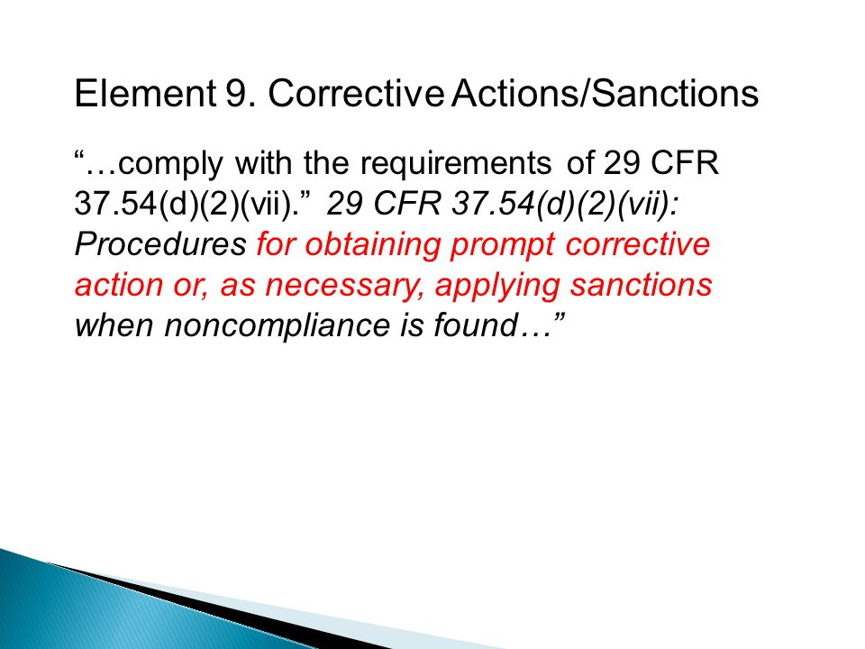 Element 9. Corrective Actions/Sanctions …comply with the requirements of 29 CFR 37.54(d)(2)(vii).