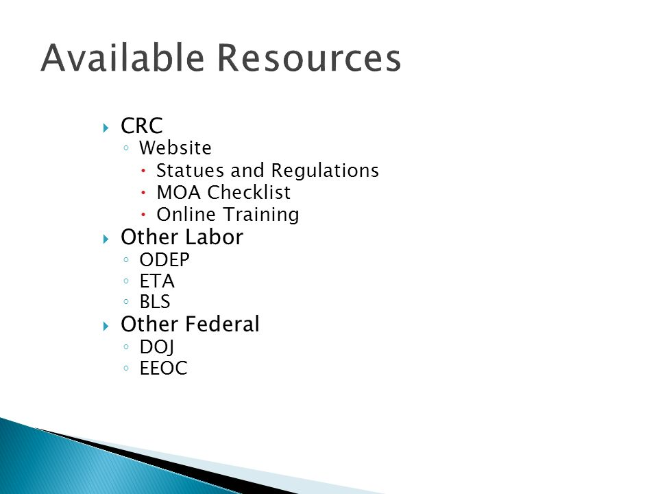 CRC Website Statues and Regulations MOA Checklist Online Training Other Labor ODEP ETA BLS Other Federal DOJ EEOC