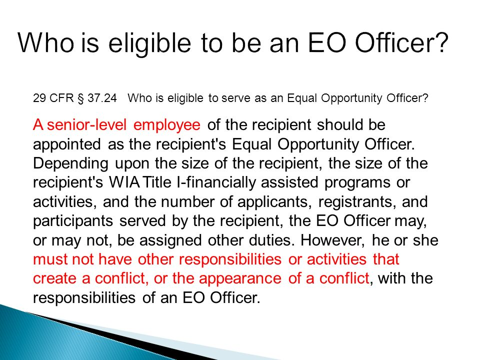29 CFR § 37.24 Who is eligible to serve as an Equal Opportunity Officer.