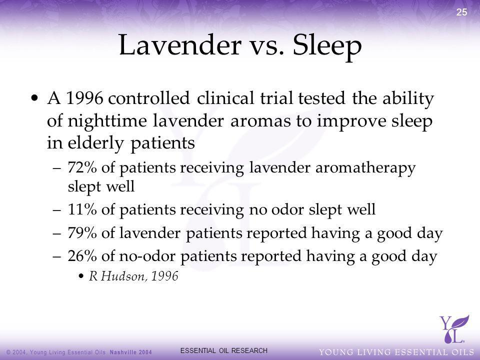 ESSENTIAL OIL RESEARCH 25 Lavender vs. Sleep A 1996 controlled clinical trial tested the ability of nighttime lavender aromas to improve sleep in elde