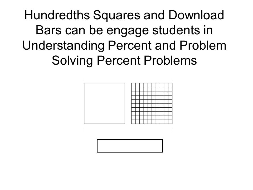 Hundredths Squares and Download Bars can be engage students in Understanding Percent and Problem Solving Percent Problems