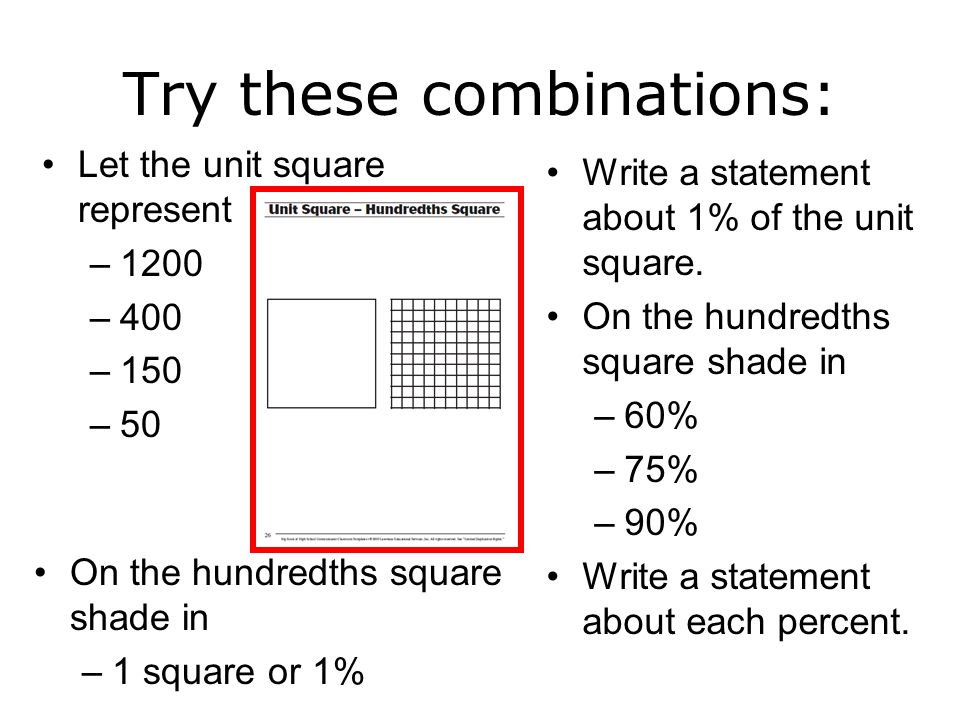 On the hundredths square shade in –1 square or 1% Let the unit square represent –1200 –400 –150 –50 Try these combinations: On the hundredths square s