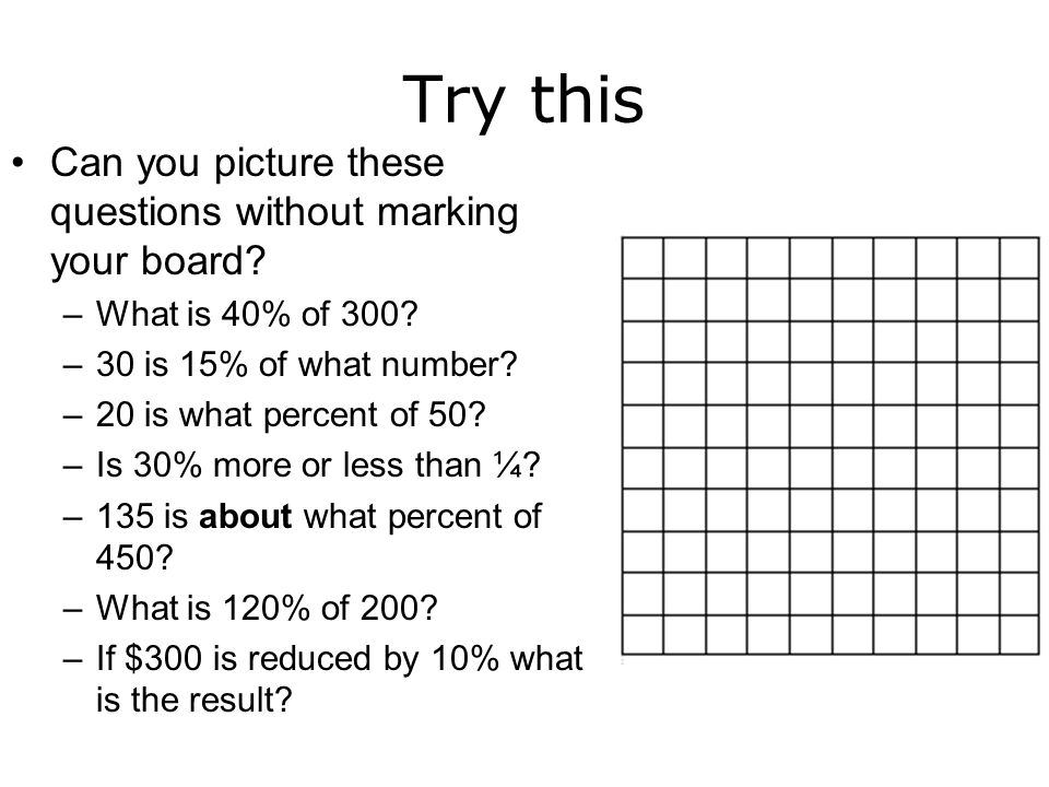 Try this Can you picture these questions without marking your board? –What is 40% of 300? –30 is 15% of what number? –20 is what percent of 50? –Is 30