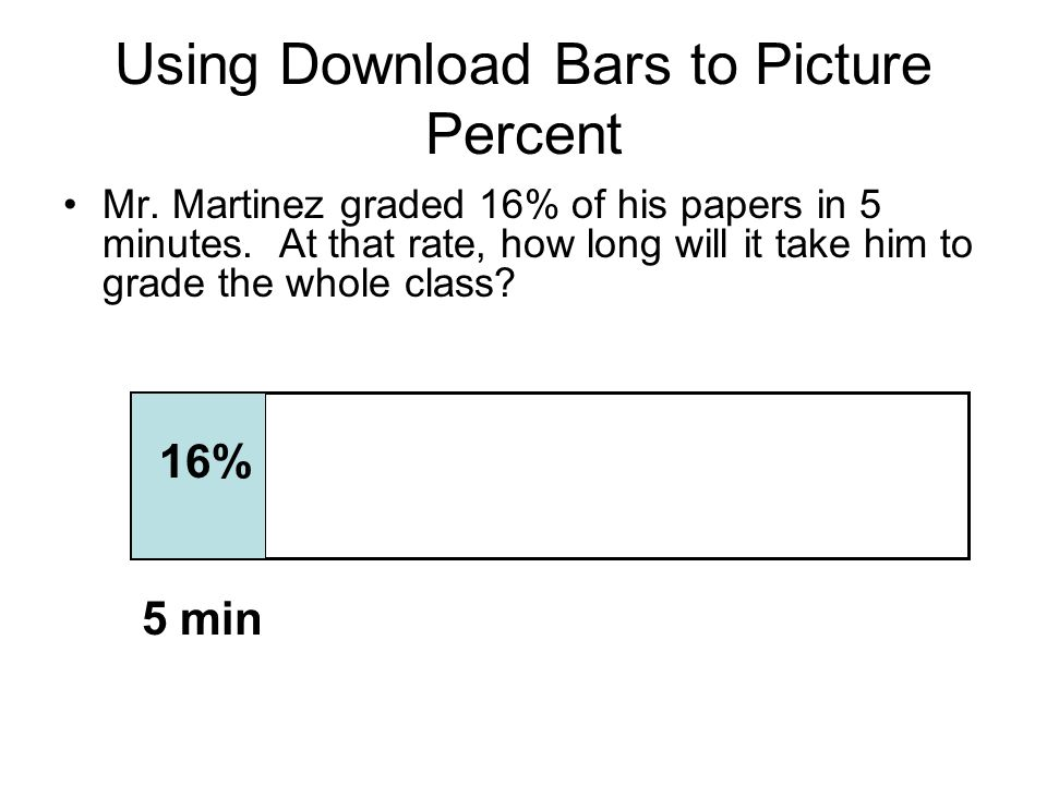 Using Download Bars to Picture Percent Mr. Martinez graded 16% of his papers in 5 minutes. At that rate, how long will it take him to grade the whole