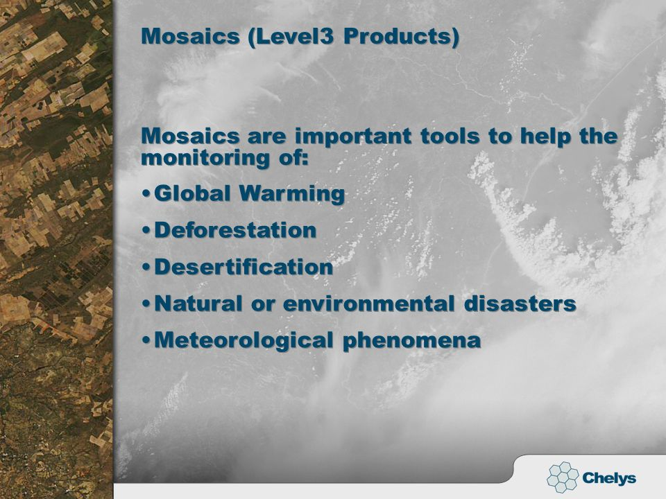 Mosaics are important tools to help the monitoring of: Global Warming Deforestation Mosaics (Level3 Products) Desertification Natural or environmental