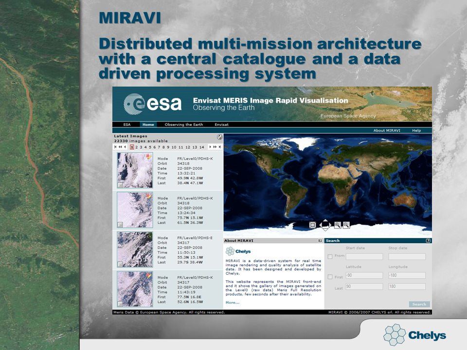 MIRAVI Distributed multi-mission architecture with a central catalogue and a data driven processing system
