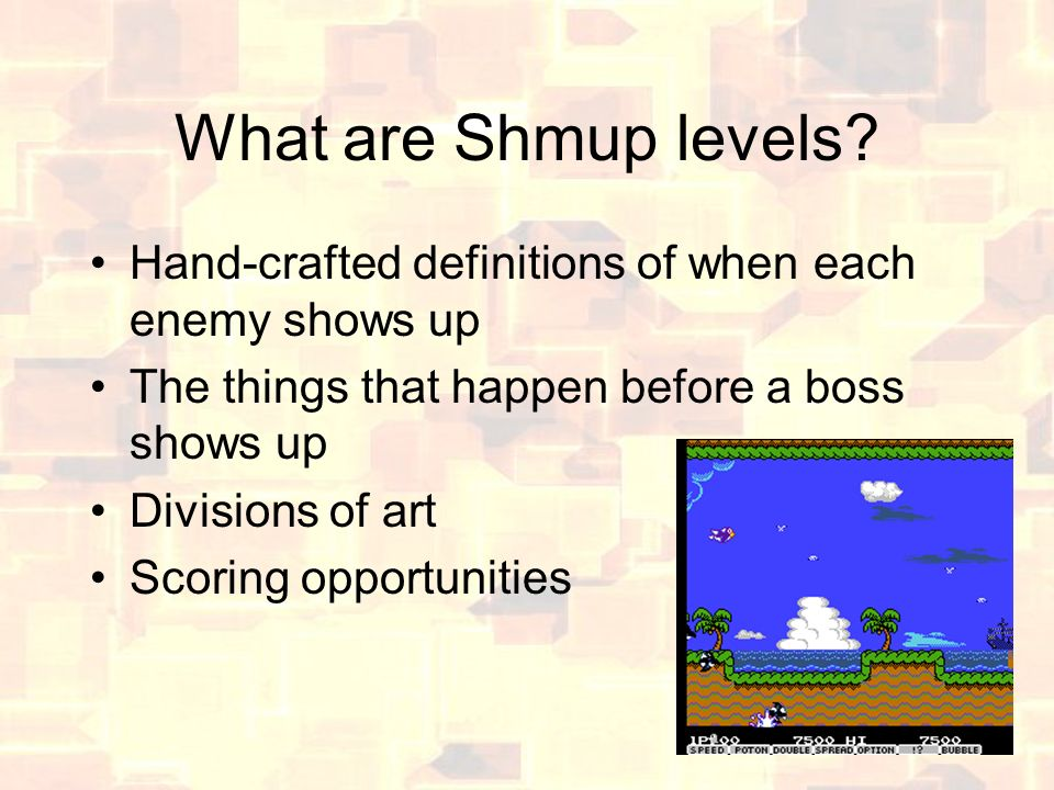 What are Shmup levels.