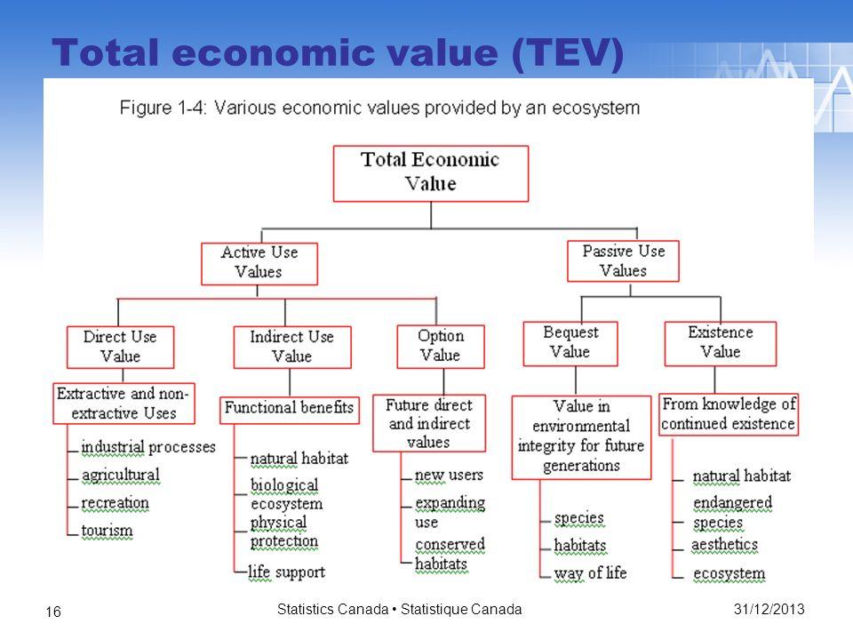 Total economic value (TEV) 31/12/2013 Statistics Canada Statistique Canada 16