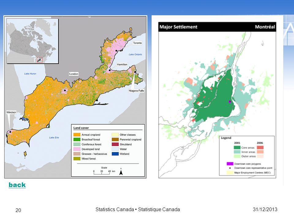 31/12/2013 Statistics Canada Statistique Canada 20 back