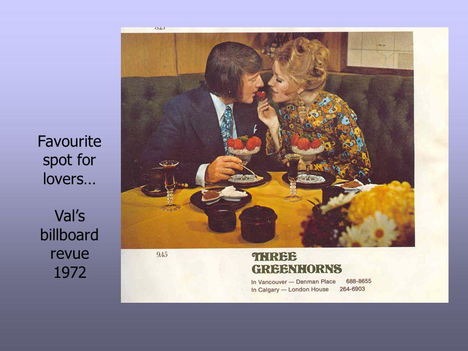 Favourite spot for lovers… Vals billboard revue 1972