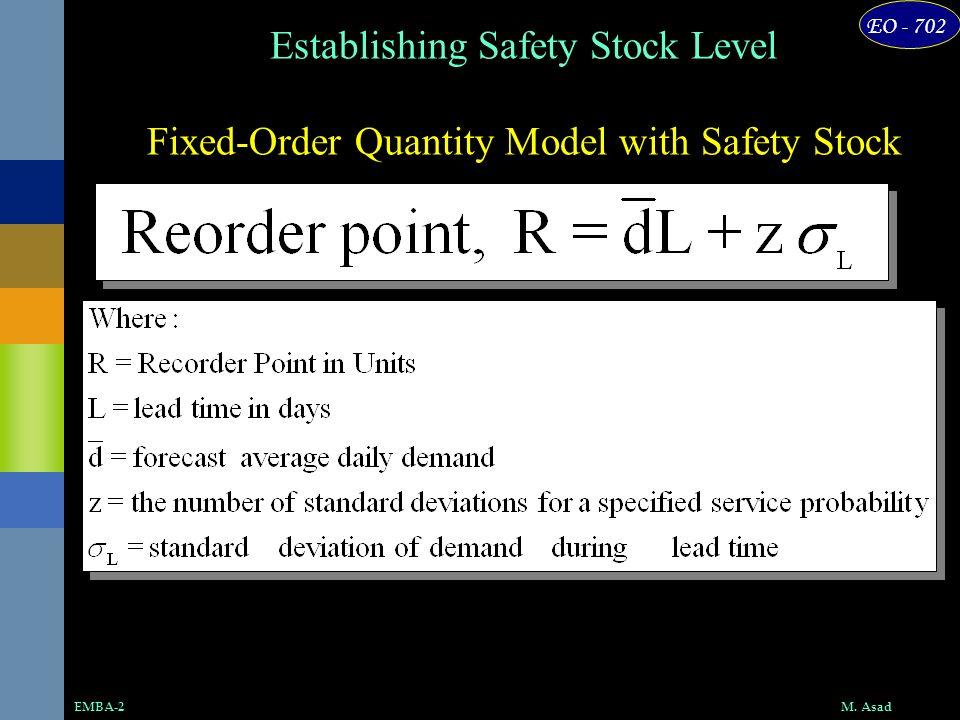 EO - 702 M. AsadEMBA-2 Fixed-Order Quantity Model with Safety Stock Establishing Safety Stock Level