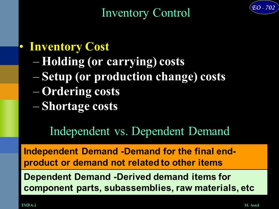 EO - 702 M. AsadEMBA-2 Inventory Control Inventory Cost –Holding (or carrying) costs –Setup (or production change) costs –Ordering costs –Shortage cos