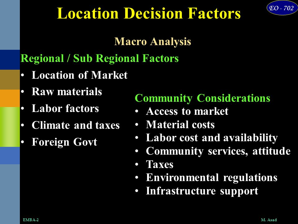 EO - 702 M. AsadEMBA-2 Location Decision Factors Macro Analysis Regional / Sub Regional Factors Location of Market Raw materials Labor factors Climate