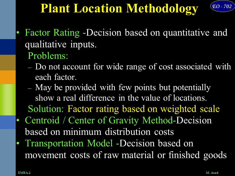 EO - 702 M. AsadEMBA-2 Plant Location Methodology Factor Rating -Decision based on quantitative and qualitative inputs. Problems: – Do not account for