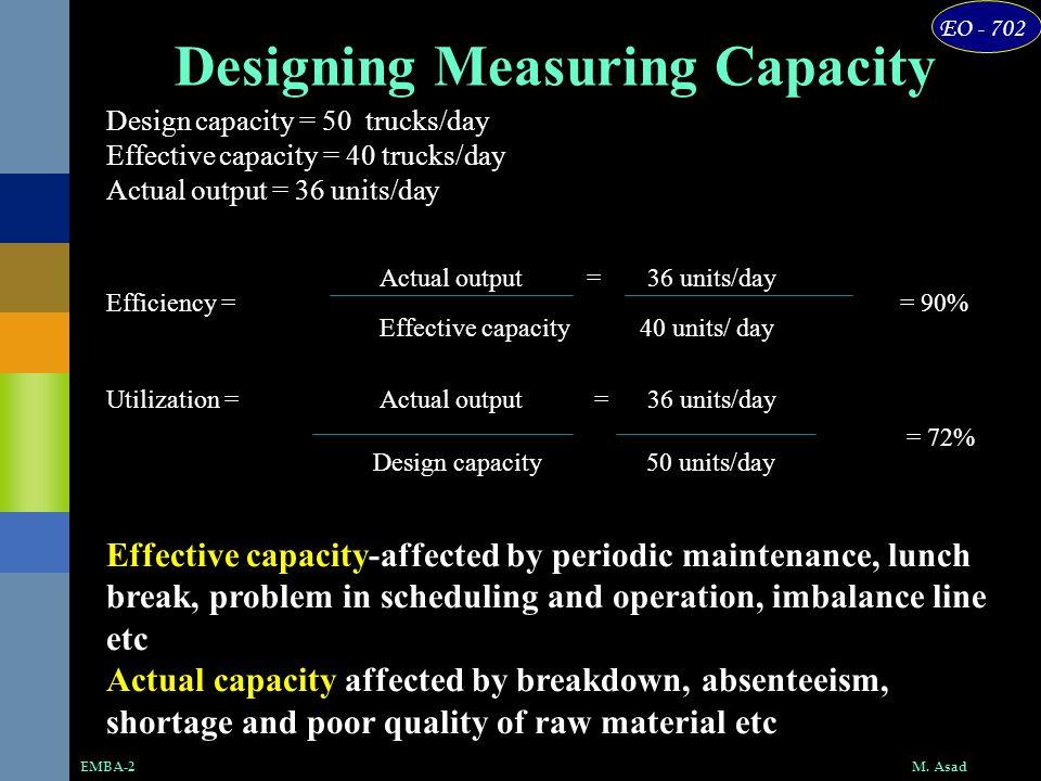 EO - 702 M. AsadEMBA-2 Design capacity = 50 trucks/day Effective capacity = 40 trucks/day Actual output = 36 units/day Efficiency = = 90% Effective ca