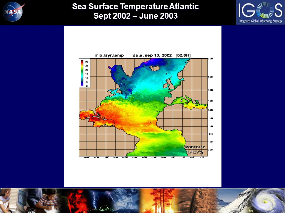 Sea Surface Temperature Atlantic Sept 2002 – June 2003 Sea Surface Temperature Atlantic Sept 2002 – June 2003