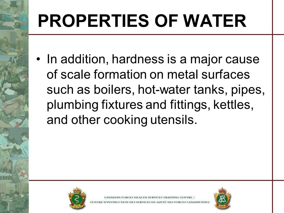 In addition, hardness is a major cause of scale formation on metal surfaces such as boilers, hot-water tanks, pipes, plumbing fixtures and fittings, k