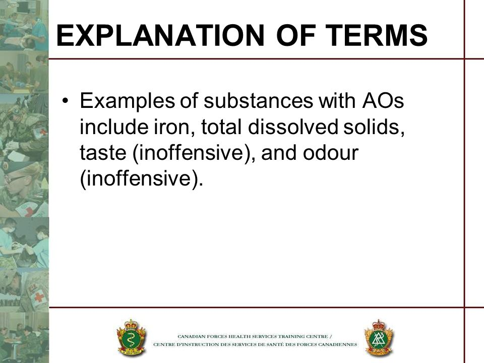 Examples of substances with AOs include iron, total dissolved solids, taste (inoffensive), and odour (inoffensive). EXPLANATION OF TERMS