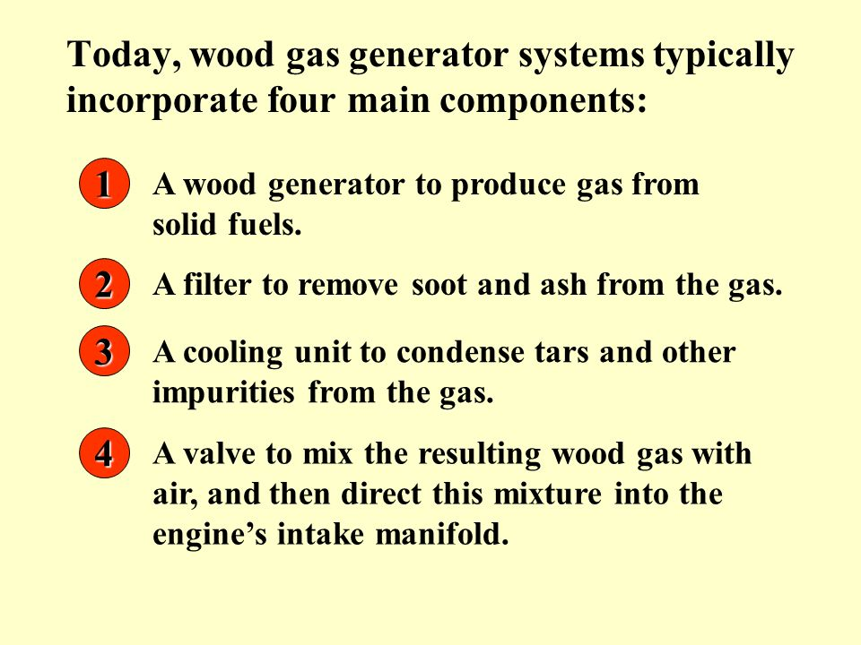 A wood generator to produce gas from solid fuels. 1 A filter to remove soot and ash from the gas. 2 A cooling unit to condense tars and other impuriti