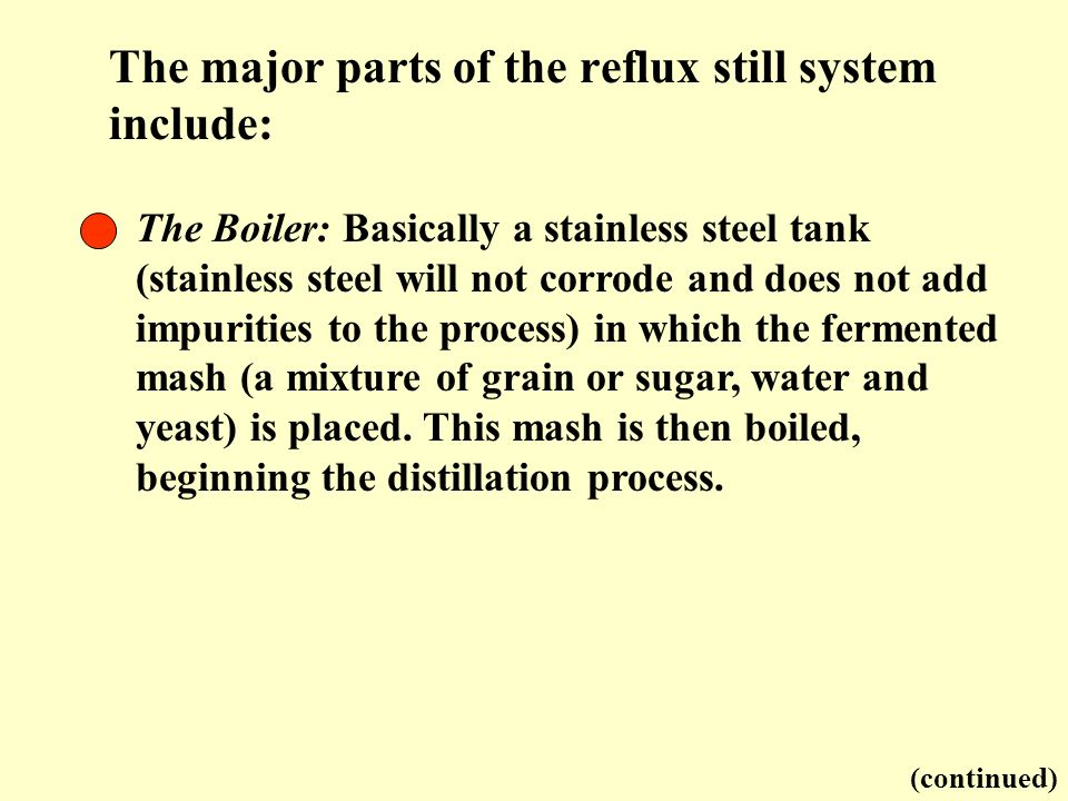 The major parts of the reflux still system include: The Boiler: Basically a stainless steel tank (stainless steel will not corrode and does not add im