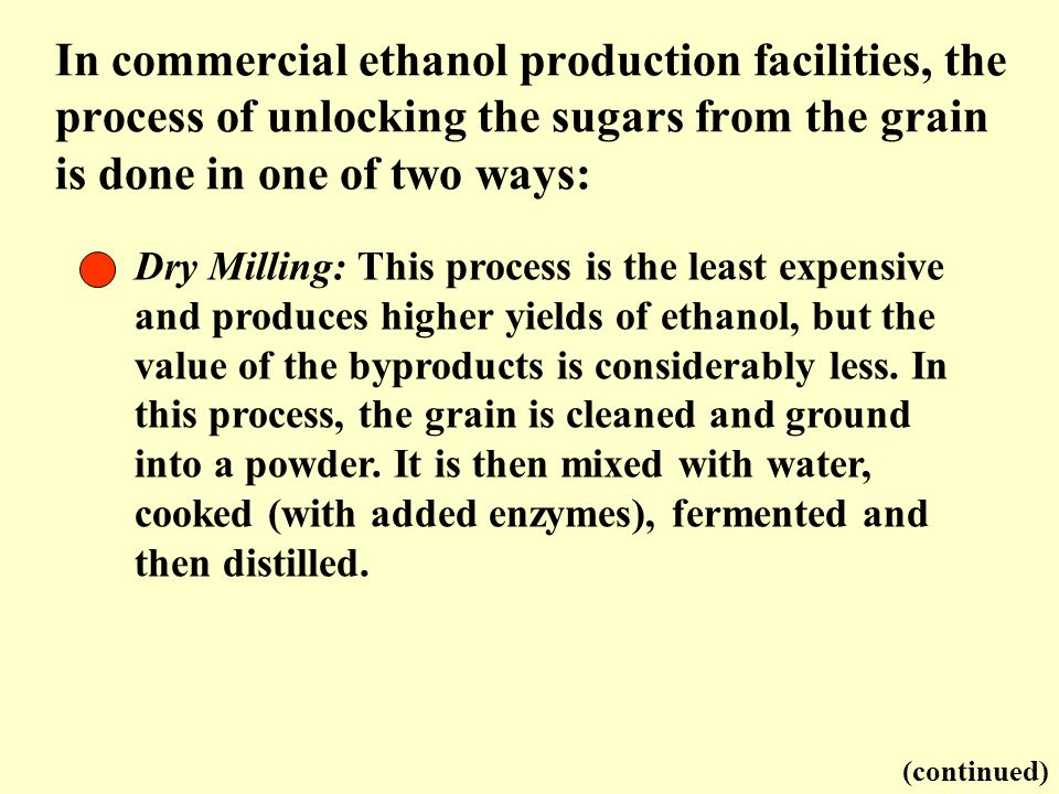 In commercial ethanol production facilities, the process of unlocking the sugars from the grain is done in one of two ways: Dry Milling: This process