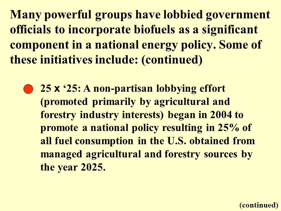 25 x 25: A non-partisan lobbying effort (promoted primarily by agricultural and forestry industry interests) began in 2004 to promote a national polic