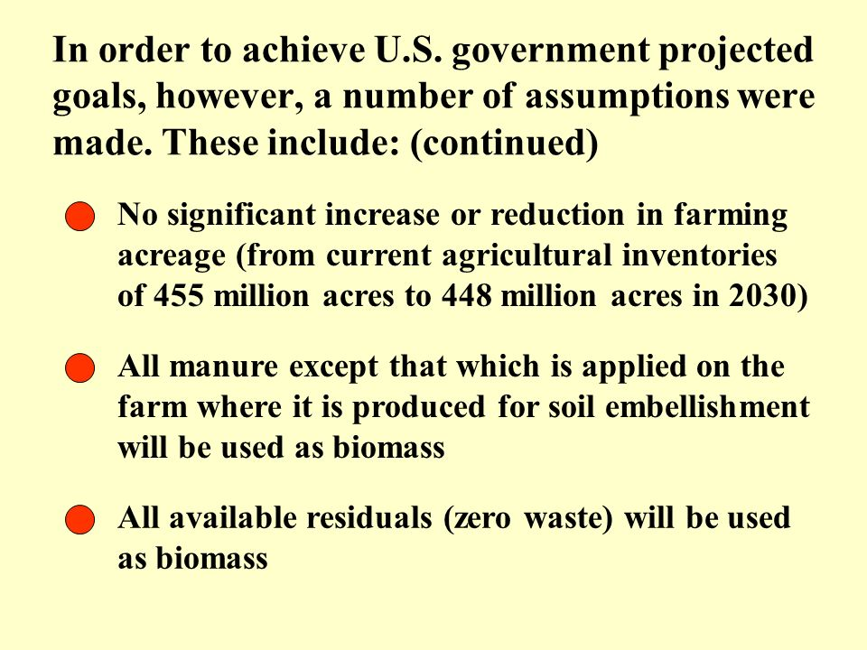 No significant increase or reduction in farming acreage (from current agricultural inventories of 455 million acres to 448 million acres in 2030) All