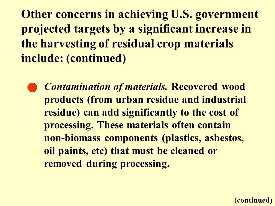 Contamination of materials. Recovered wood products (from urban residue and industrial residue) can add significantly to the cost of processing. These