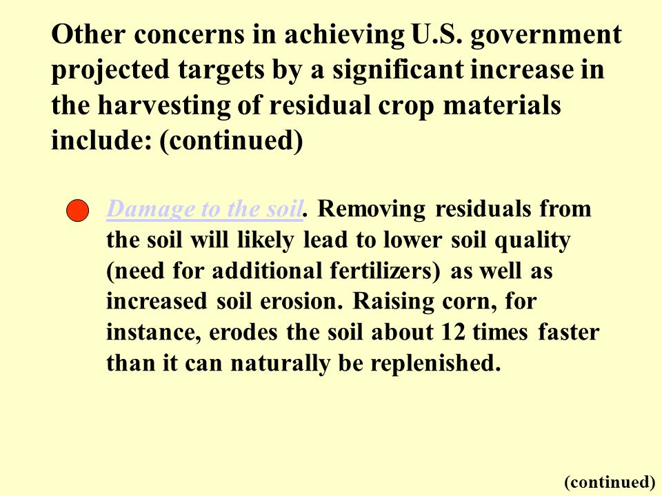 Damage to the soilDamage to the soil. Removing residuals from the soil will likely lead to lower soil quality (need for additional fertilizers) as wel
