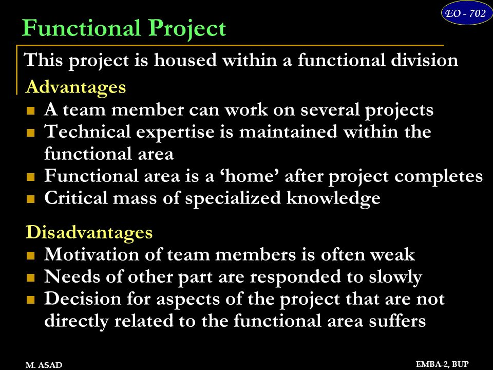 7 EO - 702 EMBA-2, BUP M. ASAD Functional Project Advantages A team member can work on several projects Technical expertise is maintained within the f