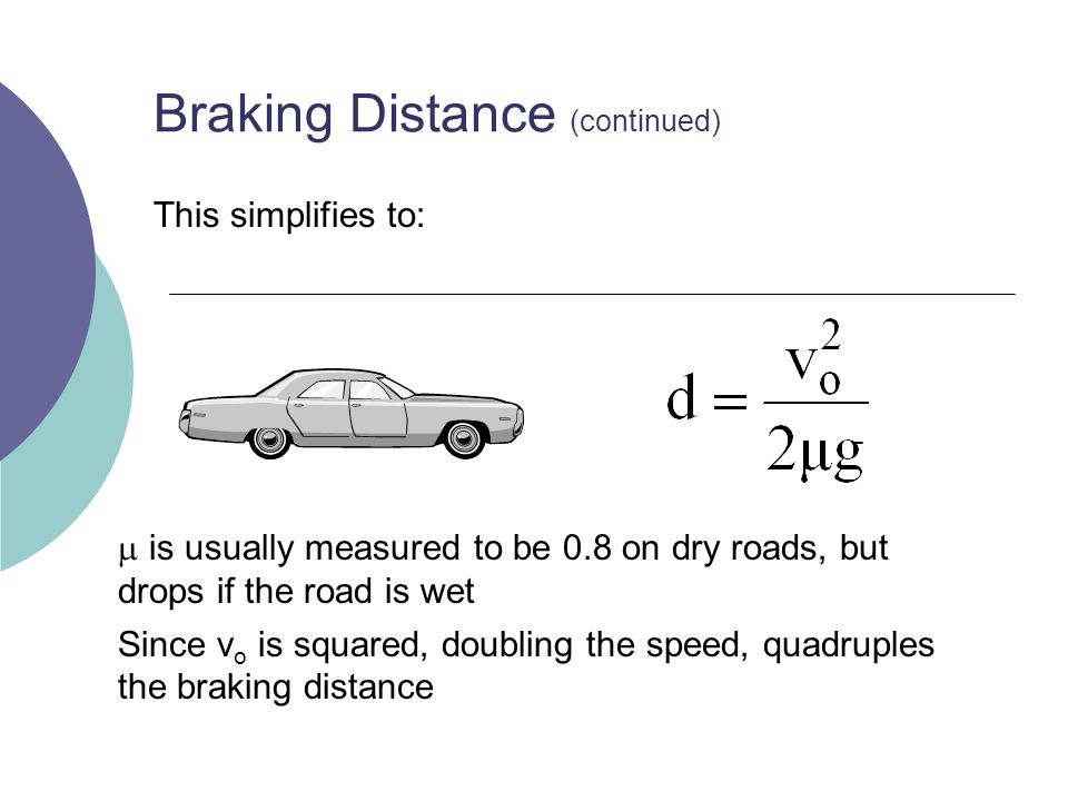 Braking Distance (continued) This simplifies to: is usually measured to be 0.8 on dry roads, but drops if the road is wet Since v o is squared, doubling the speed, quadruples the braking distance