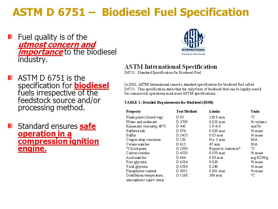 ASTM D 6751 – Biodiesel Fuel Specification Fuel quality is of the utmost concern and importance to the biodiesel industry. ASTM D 6751 is the specific