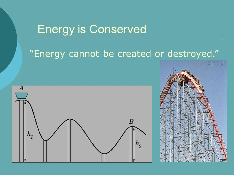 Energy is Conserved Energy cannot be created or destroyed.
