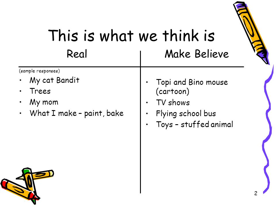 2 This is what we think is Real (sample responses) My cat Bandit Trees My mom What I make – paint, bake Make Believe Topi and Bino mouse (cartoon) TV shows Flying school bus Toys – stuffed animal