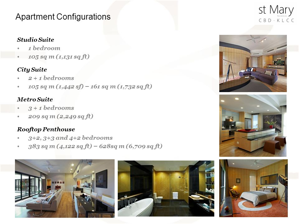 Studio Suite 1 bedroom 105 sq m (1,131 sq ft) City Suite 2 + 1 bedrooms 105 sq m (1,442 sf) – 161 sq m (1,732 sq ft) Metro Suite 3 + 1 bedrooms 209 sq