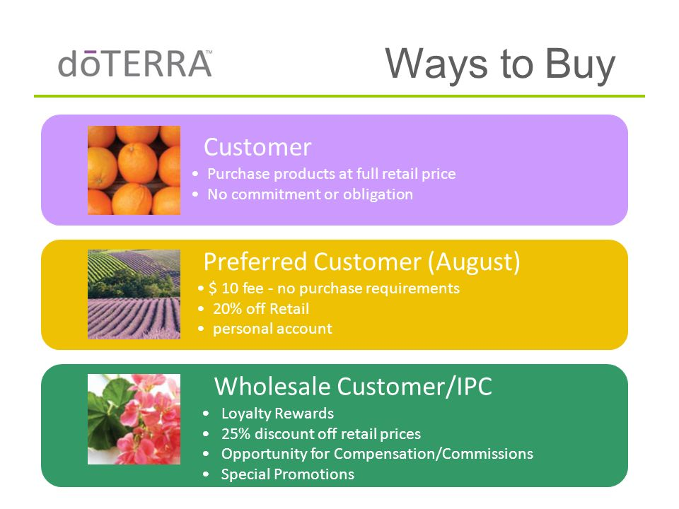 Ways to Buy Customer Purchase products at full retail price No commitment or obligation Preferred Customer (August) $ 10 fee - no purchase requirement