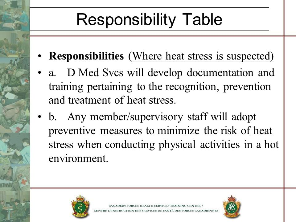 Responsibility Table Responsibilities (Where heat stress is suspected) a.D Med Svcs will develop documentation and training pertaining to the recognition, prevention and treatment of heat stress.