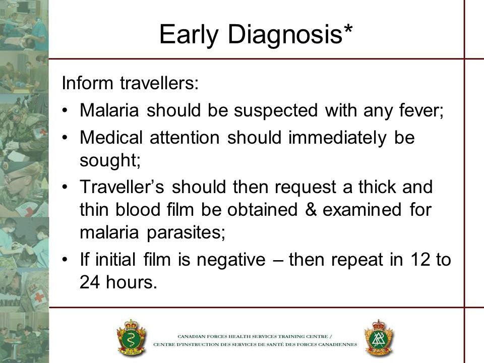Early Diagnosis* Inform travellers: Malaria should be suspected with any fever; Medical attention should immediately be sought; Travellers should then