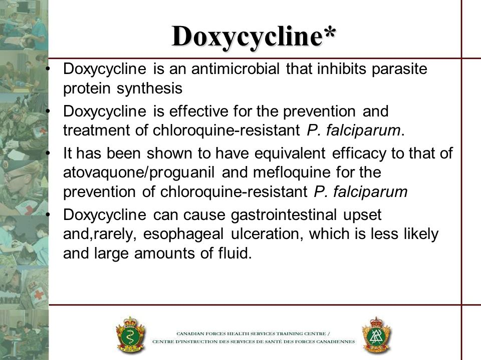 Doxycycline* Doxycycline is an antimicrobial that inhibits parasite protein synthesis Doxycycline is effective for the prevention and treatment of chl