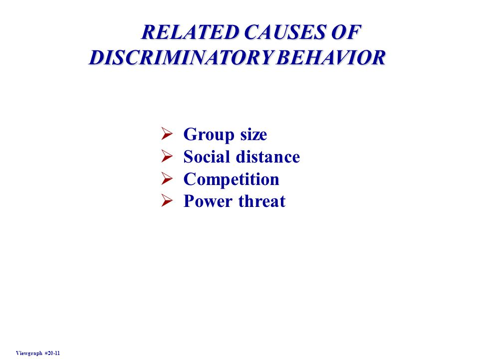 RELATED CAUSES OF RELATED CAUSES OF DISCRIMINATORY BEHAVIOR Viewgraph #20-11 Group size Social distance Competition Power threat