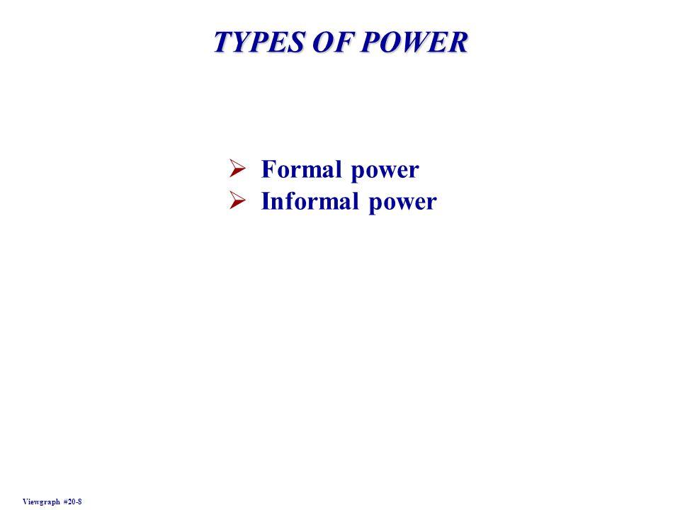 TYPES OF POWER Viewgraph #20-8 Formal power Informal power
