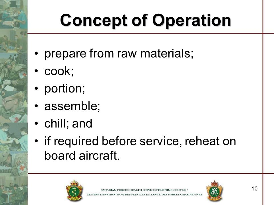 10 prepare from raw materials; cook; portion; assemble; chill; and if required before service, reheat on board aircraft. Concept of Operation