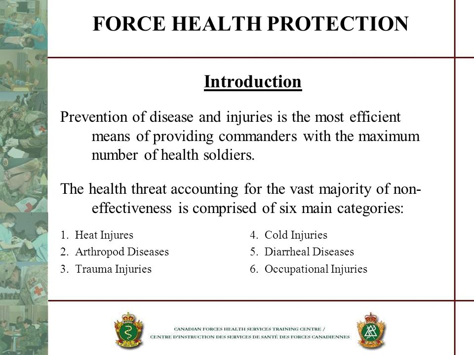 FORCE HEALTH PROTECTION Introduction Prevention of disease and injuries is the most efficient means of providing commanders with the maximum number of