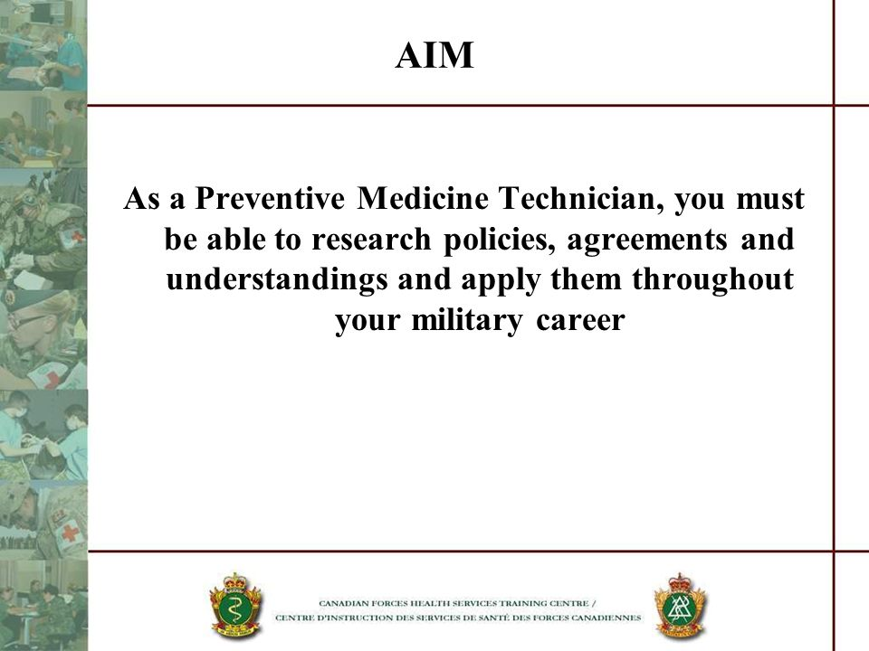 FORCE HEALTH PROTECTION Spectrum of Preventive Medicine Duties Preventive Medicine Services enhance unit effectiveness by reducing the exposure of personnel to disease and environmental and Industrial hazards Dependant for success upon the awareness and support of commanders at all levels