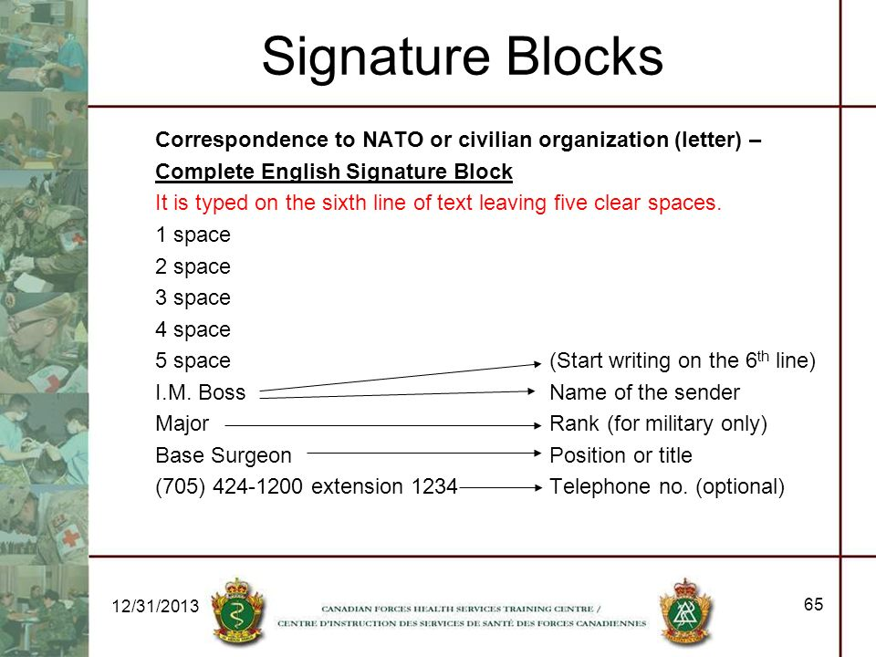 Signature Blocks Correspondence to NATO or civilian organization (letter) – Complete English Signature Block It is typed on the sixth line of text lea