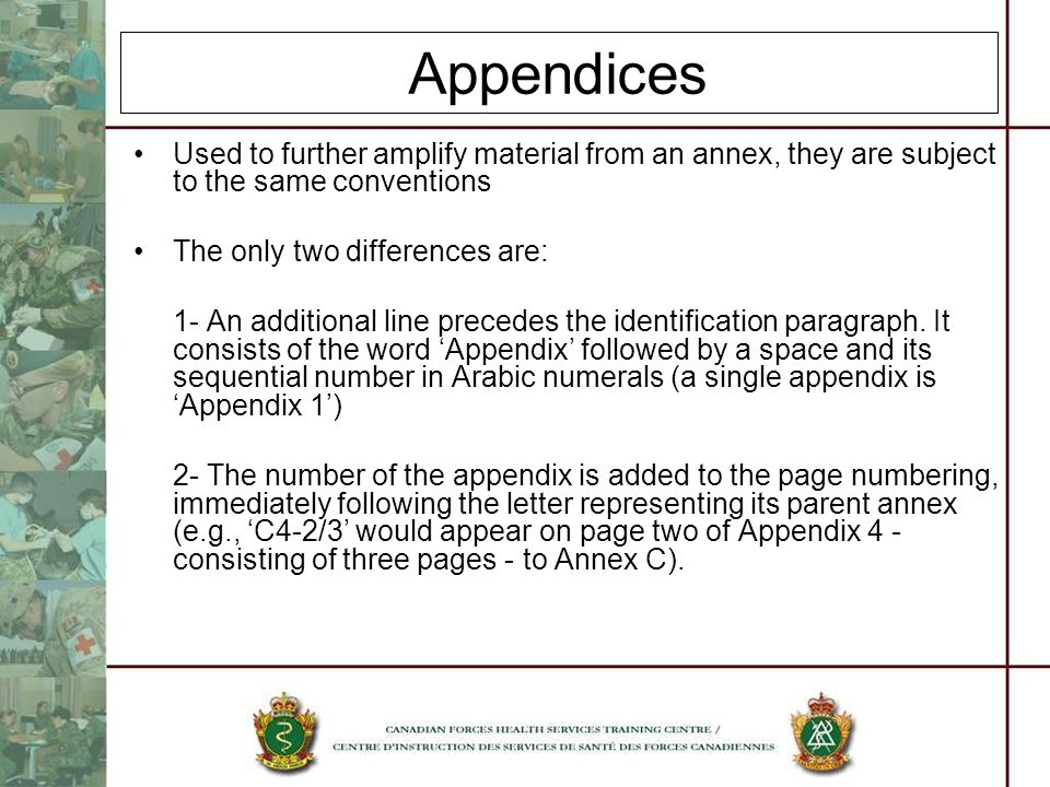 Appendices Used to further amplify material from an annex, they are subject to the same conventions The only two differences are: 1- An additional lin