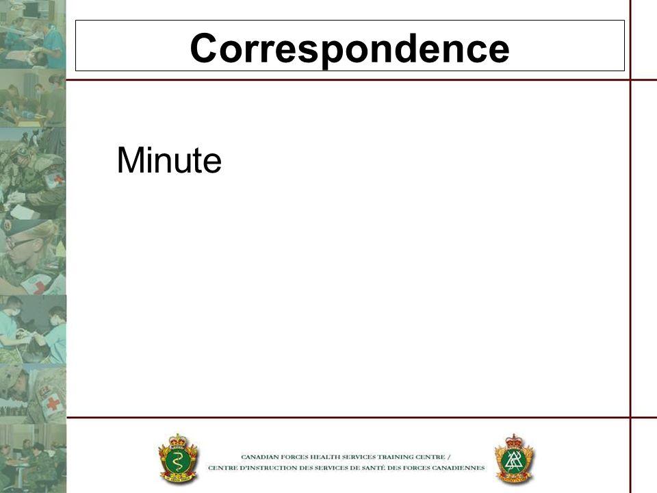 Correspondence Minute